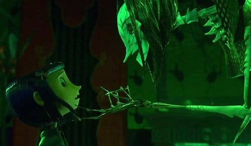 "The illusion of the other world is broken. Coraline sees the true form of the other mother, a skeletical spider-like horror. When MK slaves give in to dissociation, the ""relief"" it caused at first turn into a nightmare."