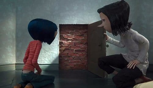 "Coraline is ""magically"" lead to find a little locked door in her house. When her mother unlocks it, the door leads nowhere."