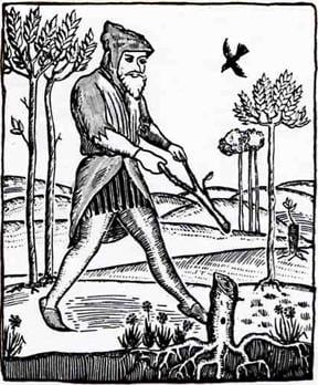 A water witch or dowser, redrawn from a sixteenth-century woodcut.