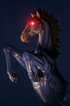 """This scary horse stands in front of the Denver International Airport - a place full of  NWO symbolism (read the article about it here). Is the horse in Katy's performance a reference to the """"demon horse"""" (that's what people in Denver call it) of the DIA?"""