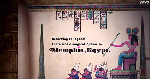 "The trailer mentions a ""magical Queen"" in Egypt. We see the Queen here sitting in front of her subjects, which are mind controlled sex kittens."