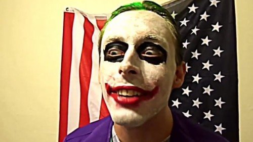 A screenshot from a YouTube video posted by Jerad Miller where he was ranting about police and government while giving manic glares at the camera.