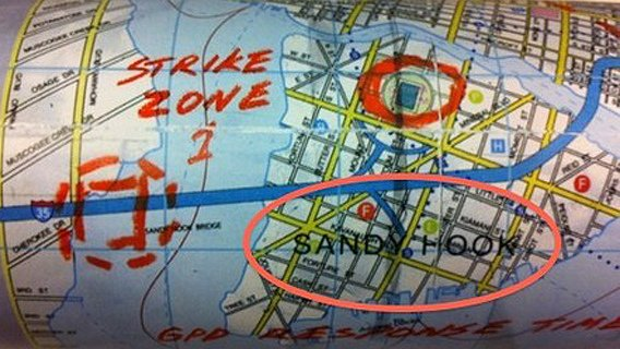 "In this map, sent as part of a promotional kit, we clearly see that Sandy Hook is identified as a ""strike zone""."