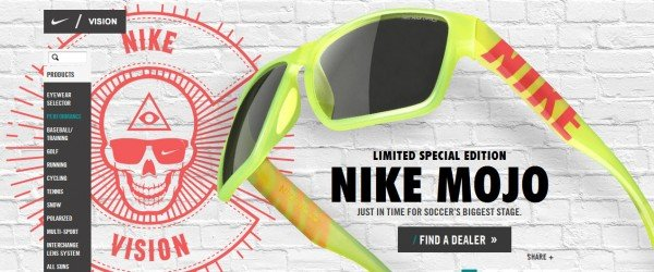 This is from Nike's website. The ad for these cool Nike shades features a skull with an Illuminati symbol on its forehead. Also, a Nike sign on one eye. It is not the first time that Nike has been featured here.