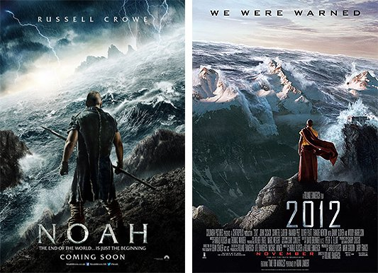 "Noah and 2012 tell the same story but in different time periods. The outcome is the same : The masses die while a ""chosen few"" survive."