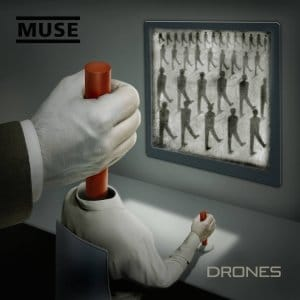 The album cover of Drones depicts an unseen puppet master controlling a drone who is controlling the masses of drones.