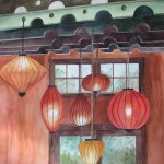 Image of water color painting by Laura Hopper called Uptown Lanterns