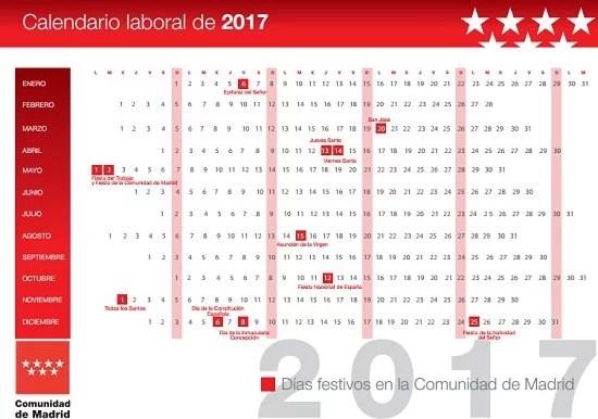 El calendario laboral de Madrid para 2017 tendrá 12 festivos