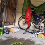 My mess in the hut. The floor is wet from the leaking roof