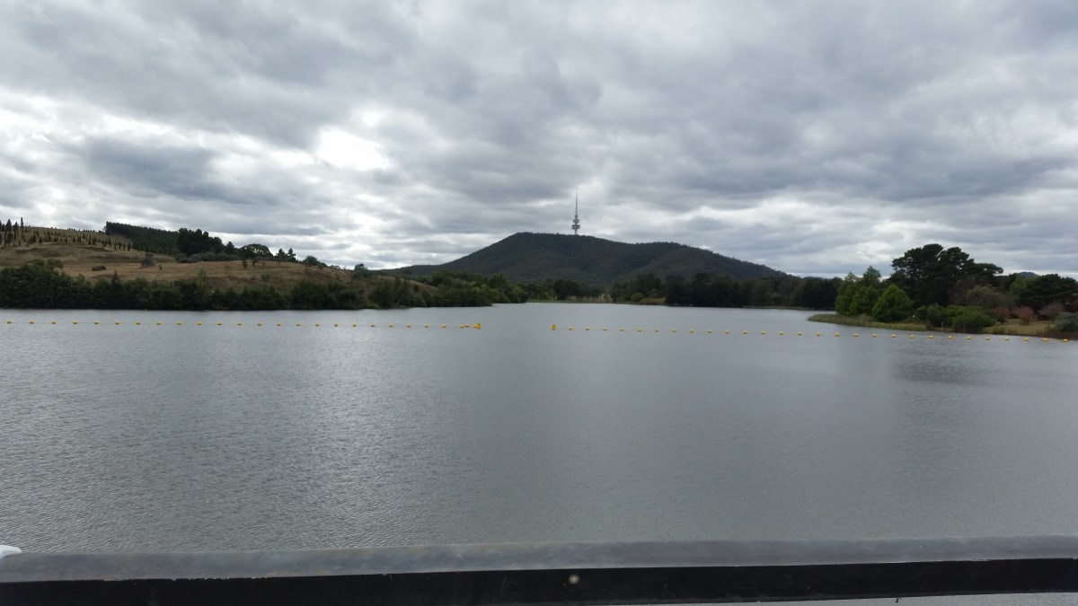 Travelling north not far from the city centre. Canberra has a lot of Rivera, parks, cycling ways.