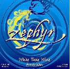 The Zephyr label, in addition to the colors, the graphics are more whimsical.  Label illustration from the Northwinds Vineyard website.