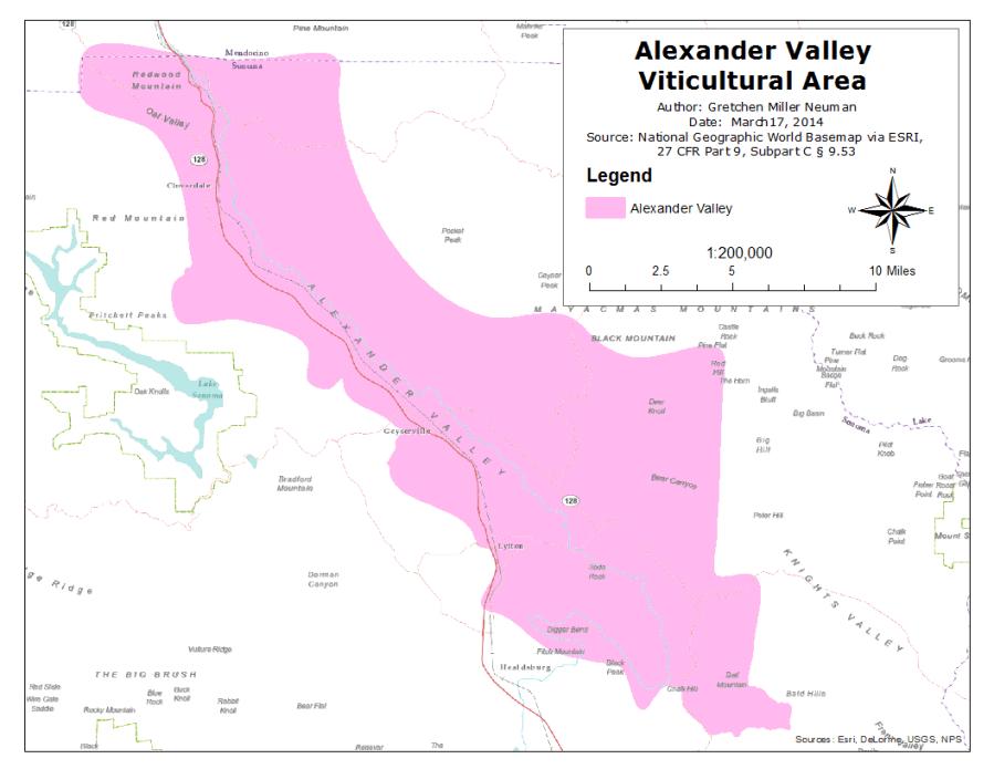 Map of Alexander Valley AVA