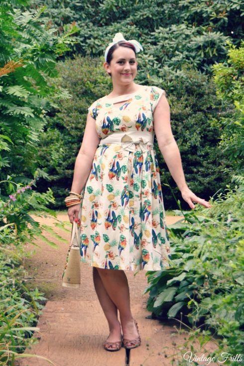 Lindy Bop Parrot Print Tropical Novelty Print Dress