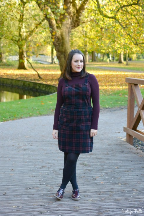 sainsburys-maroon-tartan-corduroy-dress-ootd