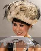 1950s 1960s feathered hat
