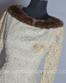 SOLD!!! Mink Fur Collared Vintage Lace 1960s MadMen Dress