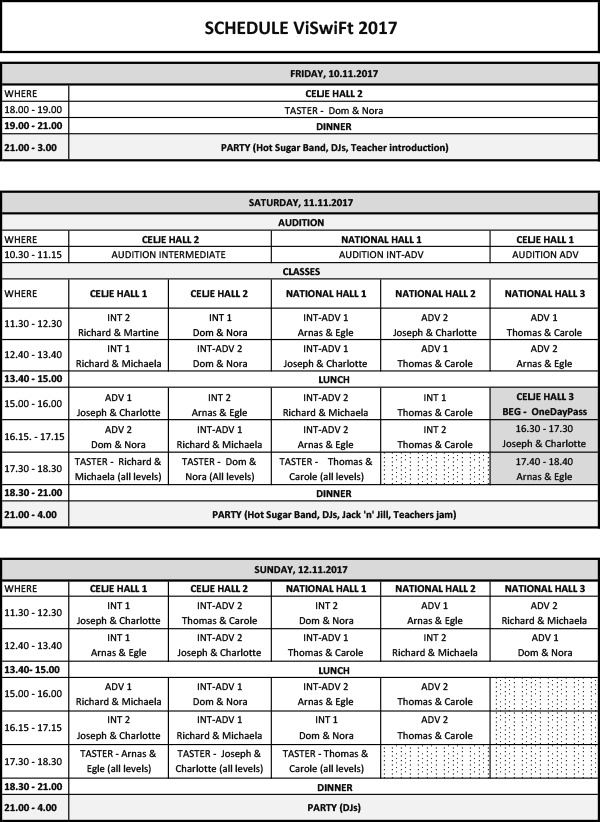 Schedule festival 2017