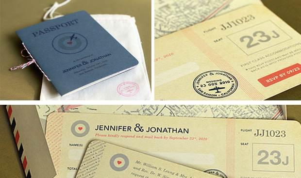 Travel themed Weddings - passport invitation via National Vintage Wedding Fair blog