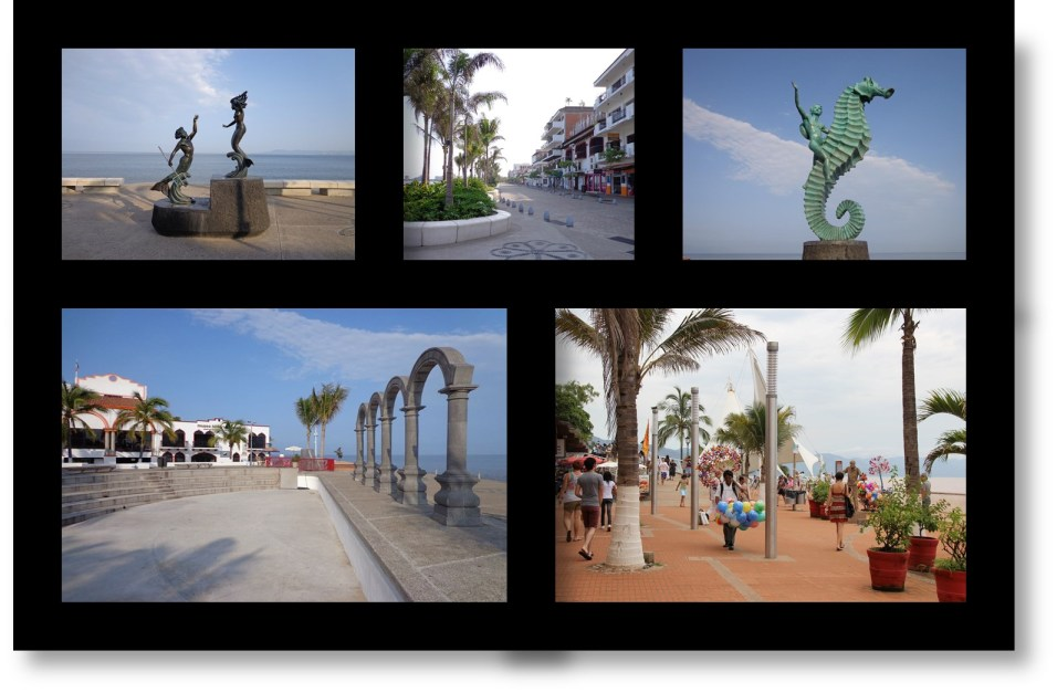 Malecon photos leading to Rio Cuale in Puerto Vallarta Mexico