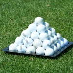 Pyramid of practice golf balls