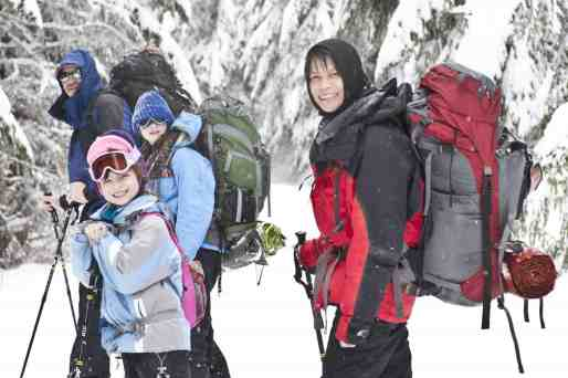 Family snowshoes to Copper Creek Hut © Ed Book Photo