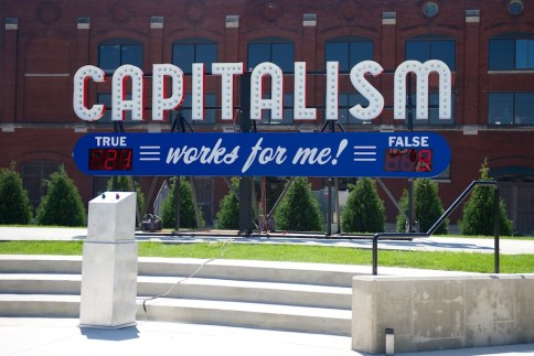 Steve Lambert Questioning Capitalism in Iowa photo