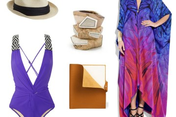 Eugenia Kim Hat, Mara Hoffman Bathing Suit, Kara Ross Bangles, Hermes Journal, Roberto Cavalli Caftan