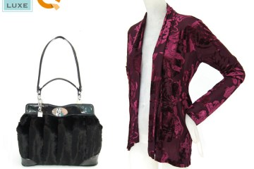 VT Luxe Park Avenue Faux Fur Satchel and Burnout Velvet Scarf Jacket