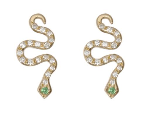 Ileana Marki Diamond & Tsavorite Little Snake Stud Earrings