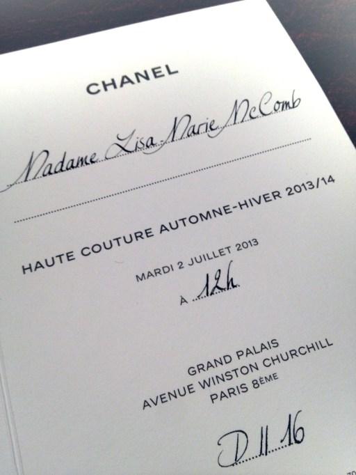Lisa Marie's Chanel Haute Couture invite