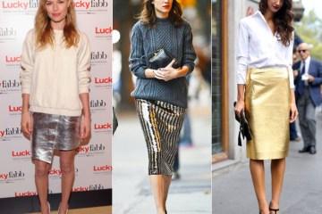 Metallic Skirts: Kate Bosworth, Alexa Chung and Street Style via FabSugar