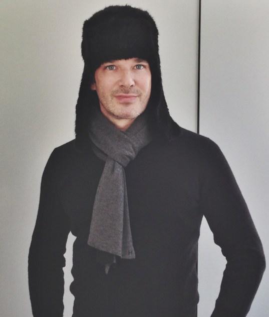 Yves Salomon Mink Hat, Levi's Jeans, Tardini Crocodile Belt from Bergdorf Goodman