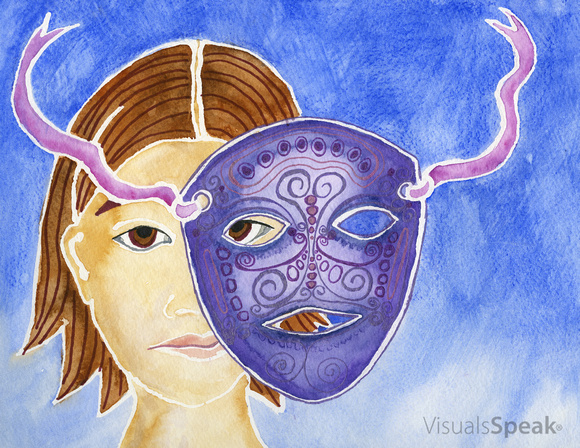 Watercolor painting of Mask