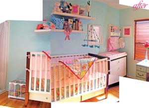The same wall, turned into a space for baby!