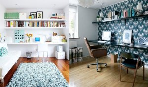 Left: The Marion House Book, found via Apartment Therapy. Right: The office of Trin of Ferm Living, found via Design*Sponge