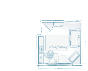 The rooms are represented at relative scale, which is why the image of the nursery office is offset.