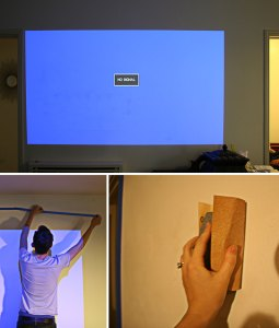 Top photo; Before prep. Projecting onto the spackled wall was driving me nuts!