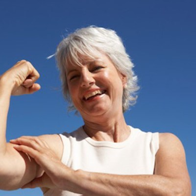 Woman showing off her bicep