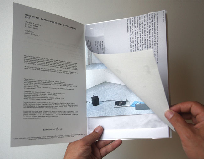 Man Leaving Harbour on a Ship (In a Room), 2009-10 artist book