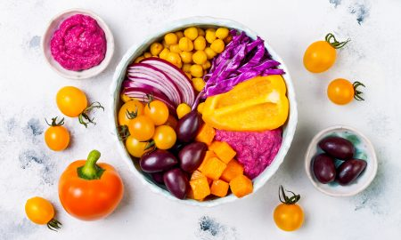 buddha bowl, orange food, purple food, pink food, vegan