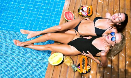 swimsuit, bikini, one piece, pool, fruit, resort