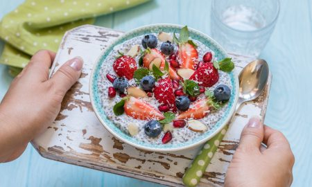 chia bowl, fruit, vegan