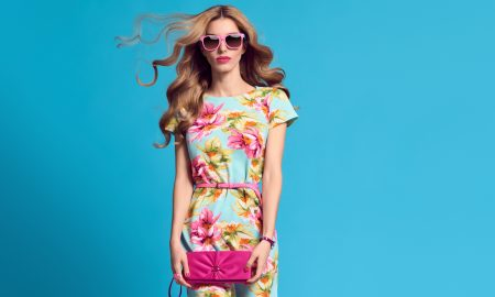 floral, spring, dress, pink, blue, blonde