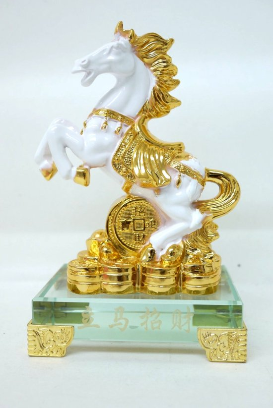 Chinese Feng Shui Gold White Horse Statue Figurine with Crystal Base