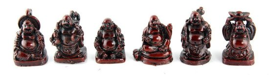 Laughing Buddha Figurine Set of 6