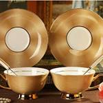 Golden Porcelain Tea Cup and Saucer Set