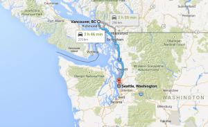 Itinéraire Vancouver à Seattle, canada vers USA