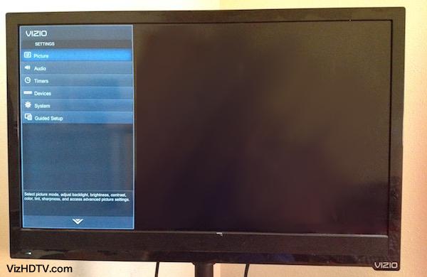 Vizio TV menu