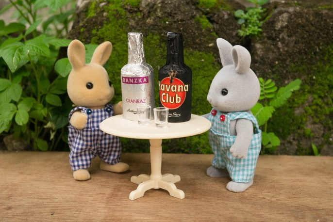 Hard drinks for the rabbit men.