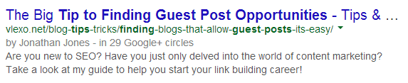 a tip to finding guest posting opportunities Google Search Authorship Rich Snippet Now Working After 3 Months